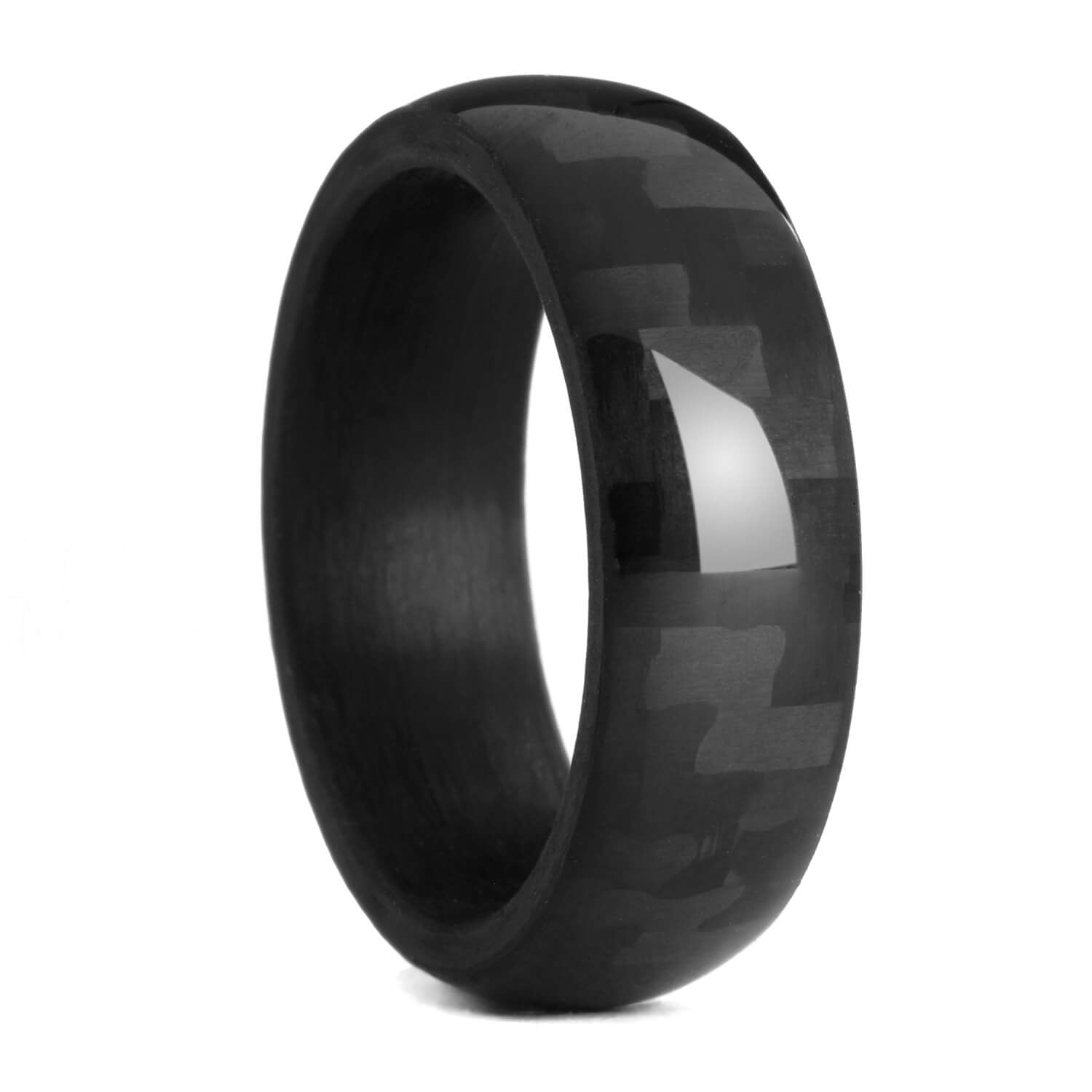 ring fiber carbon inlay wedding size rings mens diamond itm tungsten band blue