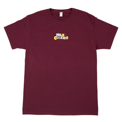 Milk & Cookies Embroidered Maroon T-Shirt - The Phi Concept