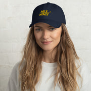 Milk & Honey Embroidered Navy Dad Hat - The Phi Concept