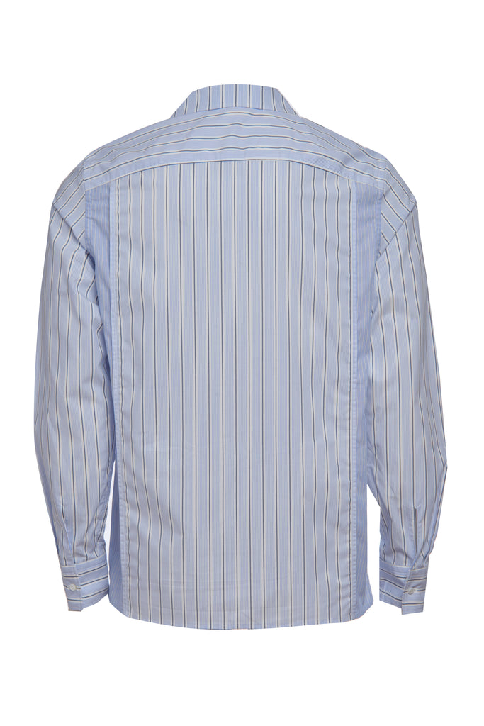 button-down lounge shirt navy/blue stripe
