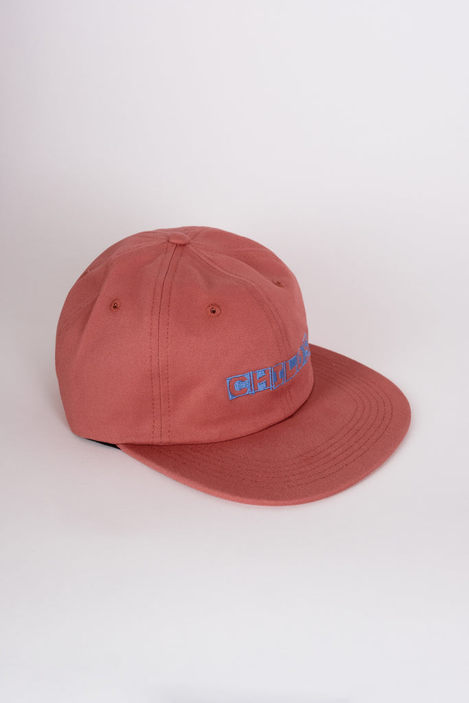 6-panel embroidered hat mineral red