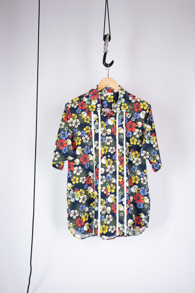 printed bloom button-down shirt navy