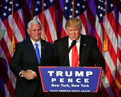 President-elect Donald Trump with Governor Mike Pence addresses his supporters at an election night event 11/8/2016 in New York City