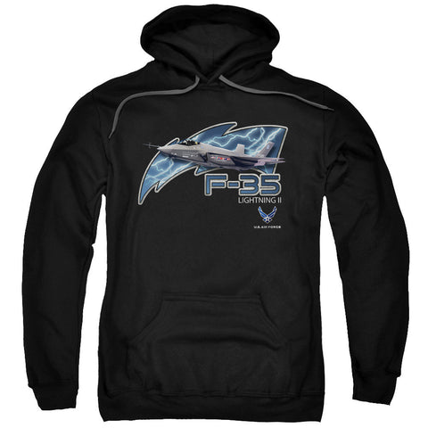 AIR FORCE/F35-ADULT PULL-OVER HOODIE-BLACK-LG T-Shirt - Societee Norms