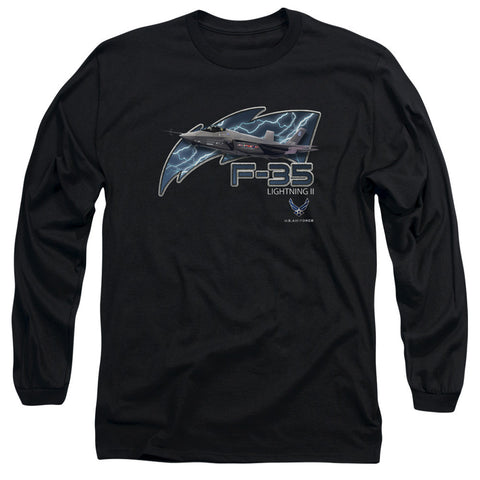 AIR FORCE/F35-L/S ADULT 18/1-BLACK-MD T-Shirt - Societee Norms