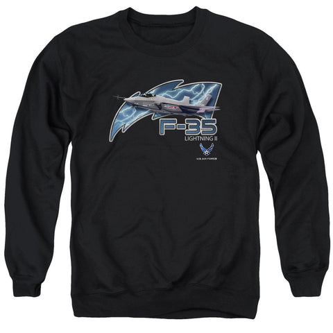 AIR FORCE/F35 - ADULT CREWNECK SWEATSHIRT - BLACK - 2X T-Shirt - Societee Norms
