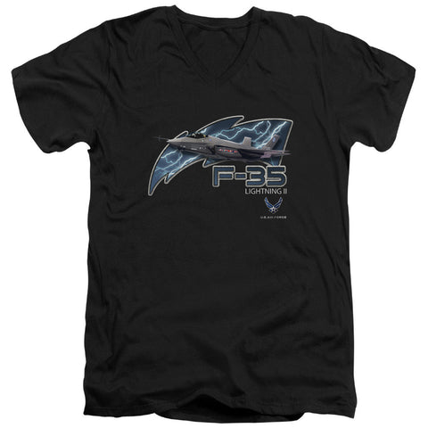 AIR FORCE/F35-S/S ADULT V-NECK 30/1-BLACK-XL T-Shirt - Societee Norms