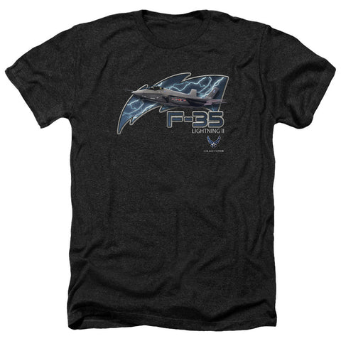 AIR FORCE/F35-ADULT HEATHER-BLACK-LG T-Shirt - Societee Norms