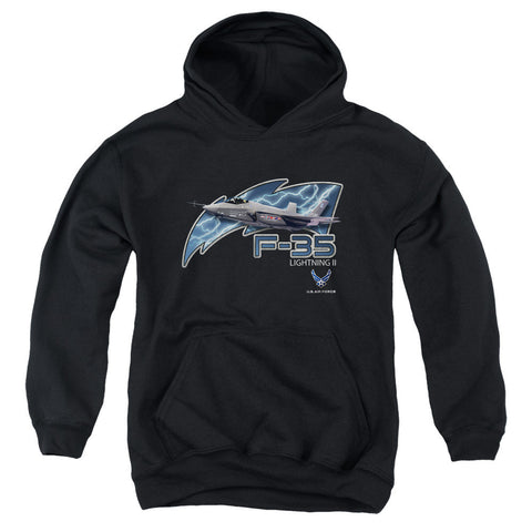 AIR FORCE/F35-YOUTH PULL-OVER HOODIE - BLACK - SM T-Shirt - Societee Norms