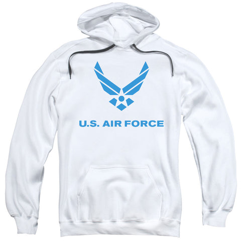 AIR FORCE/DISTRESSED LOGO-ADULT PULL-OVER HOODIE-WHITE-LG T-Shirt - Societee Norms