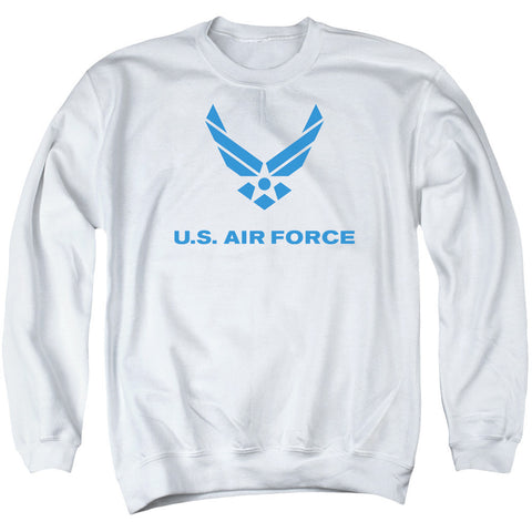 AIR FORCE/DISTRESSED LOGO - ADULT CREWNECK SWEATSHIRT - WHITE - SM T-Shirt - Societee Norms