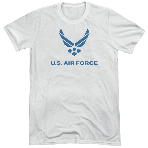 AIR FORCE/DISTRESSED LOGO-S/S ADULT TRI-BLEND-WHITE-2X T-Shirt - Societee Norms