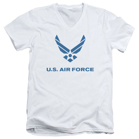 AIR FORCE/DISTRESSED LOGO-S/S ADULT V-NECK 30/1-WHITE-LG T-Shirt - Societee Norms