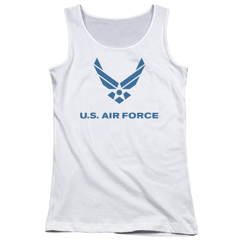 AIR FORCE/DISTRESSED LOGO - JUNIORS TANK TOP - WHITE - 2X T-Shirt - Societee Norms