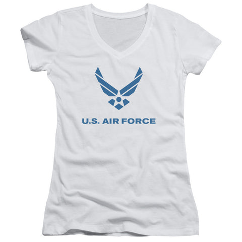 AIR FORCE/DISTRESSED LOGO-JUNIOR V-NECK-WHITE-XL T-Shirt - Societee Norms