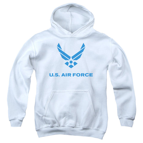 AIR FORCE/DISTRESSED LOGO-YOUTH PULL-OVER HOODIE - WHITE - LG T-Shirt - Societee Norms