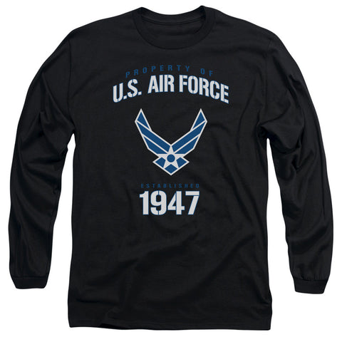 AIR FORCE/PROPERTY OF-L/S ADULT 18/1-BLACK-2X T-Shirt - Societee Norms