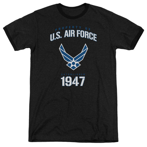 AIR FORCE/PROPERTY OF - ADULT HEATHER RINGER - BLACK - LG T-Shirt - Societee Norms