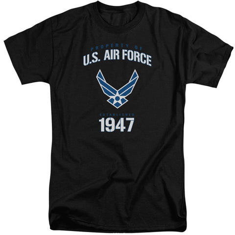 AIR FORCE/PROPERTY OF-S/S ADULT TALL-BLACK-XL T-Shirt - Societee Norms