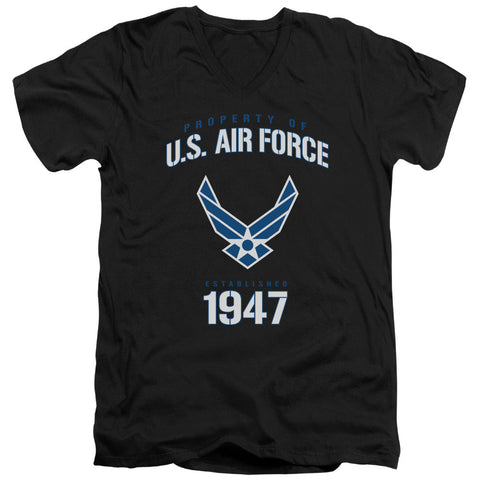 AIR FORCE/PROPERTY OF-S/S ADULT V-NECK 30/1-BLACK-SM T-Shirt - Societee Norms