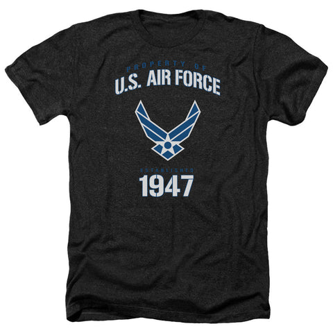 AIR FORCE/PROPERTY OF-ADULT HEATHER-BLACK-MD T-Shirt - Societee Norms