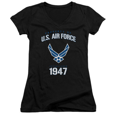 AIR FORCE/PROPERTY OF-JUNIOR V-NECK-BLACK-2X T-Shirt - Societee Norms