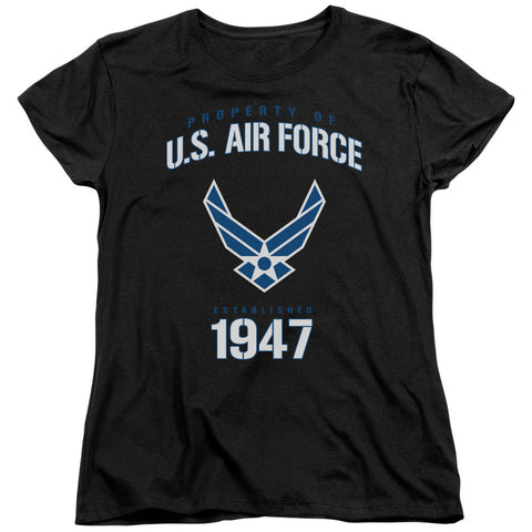 AIR FORCE/PROPERTY OF-S/S WOMEN'S TEE-BLACK-MD T-Shirt - Societee Norms