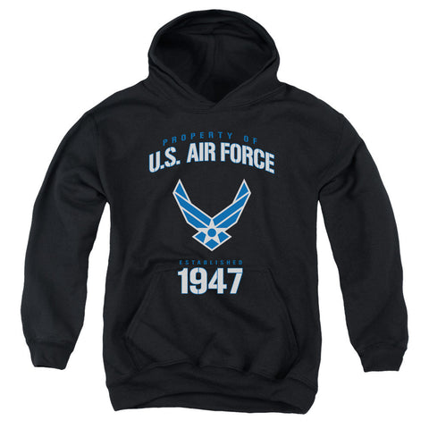 AIR FORCE/PROPERTY OF-YOUTH PULL-OVER HOODIE - BLACK - MD T-Shirt - Societee Norms