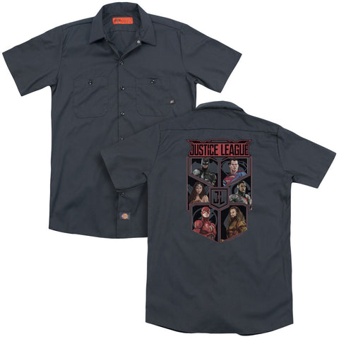 JUSTICE LEAGUE MOVIE/LEAGUE OF SIX (BACK PRINT) - ADULT WORK SHIRT - CHARCOAL - SM