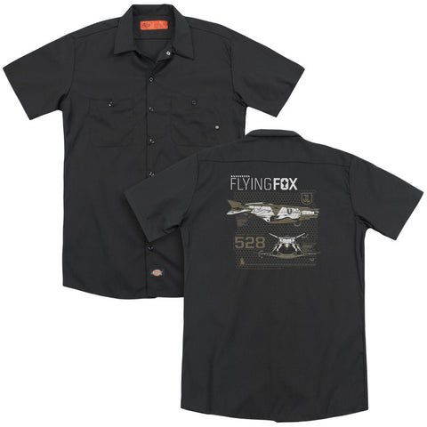 JUSTICE LEAGUE MOVIE/FLYING FOX (BACK PRINT) - ADULT WORK SHIRT - BLACK - SM