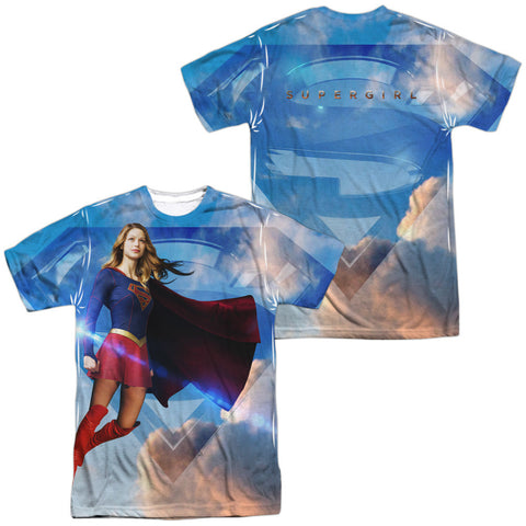 Supergirl TV Show UP IN THE SKY 1-Sided Sublimated Big Print Poly Cotton T-Shirt