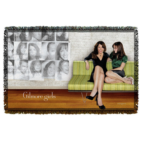 Gilmore Girls - Sitting on Couch Woven Throw T-Shirt - Societee Norms