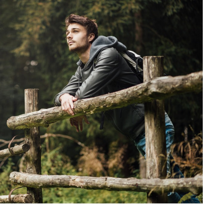 man hiking defined jawline