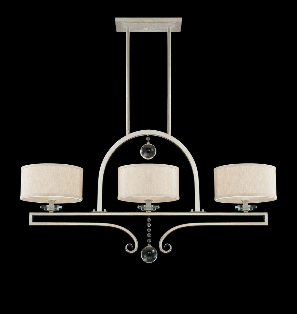 Savoy House - 1-252-3-307 - Three Light Linear Chandelier - Rosendal - Silver Sparkle