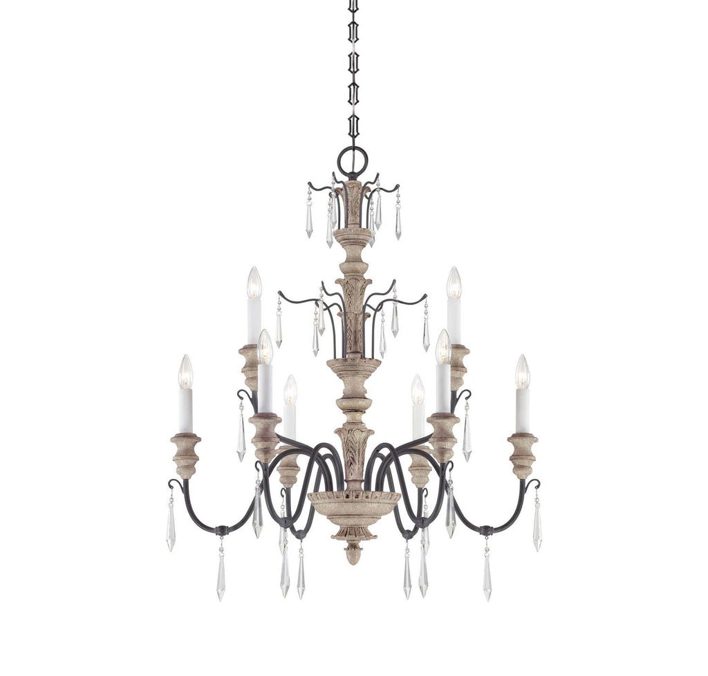 Savoy House - 1-4341-9-192 - Nine Light Chandelier - Madeliane - Distressed White Wood and Iron