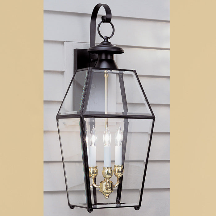 Norwell Lighting - 1067-BL-BE - Three Light Outdoor Wall Lantern - Olde Colony - Black