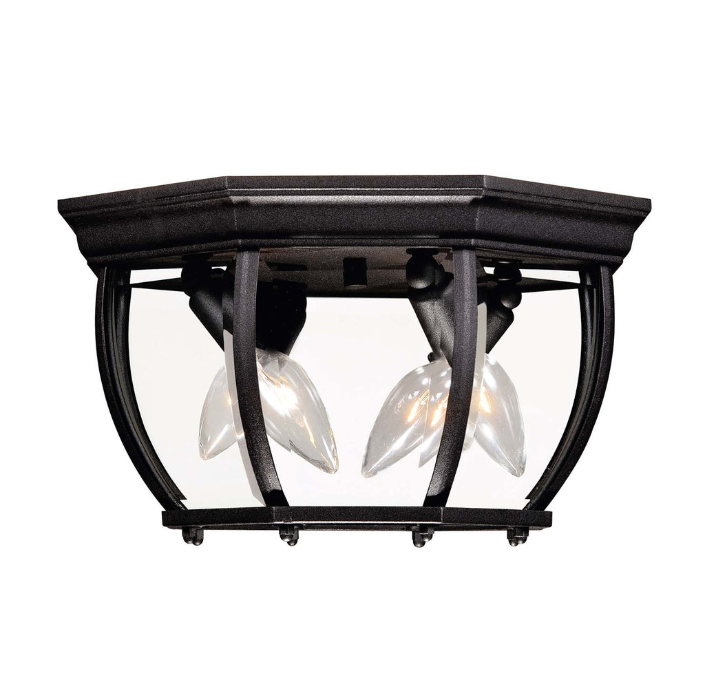 Savoy House - 07038-BK - Three Light Flush Mount - Exterior Collections - Black