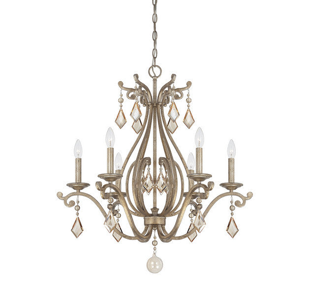 Savoy House - 1-8100-6-128 - Six Light Chandelier - Rothchild - Oxidized Silver