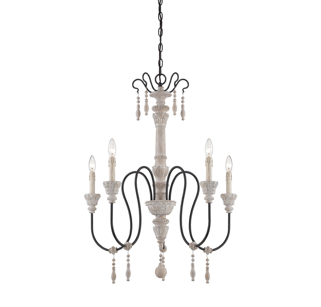 Savoy House - 1-290-5-23 - Five Light Chandelier - Ashland - White Washed Driftwood