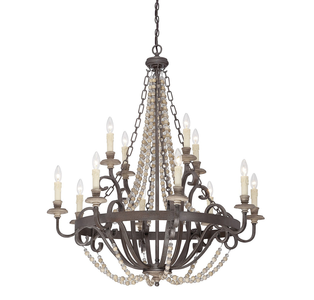 Savoy House - 1-7405-12-39 - 12 Light Chandelier - Mallory - Fossil Stone