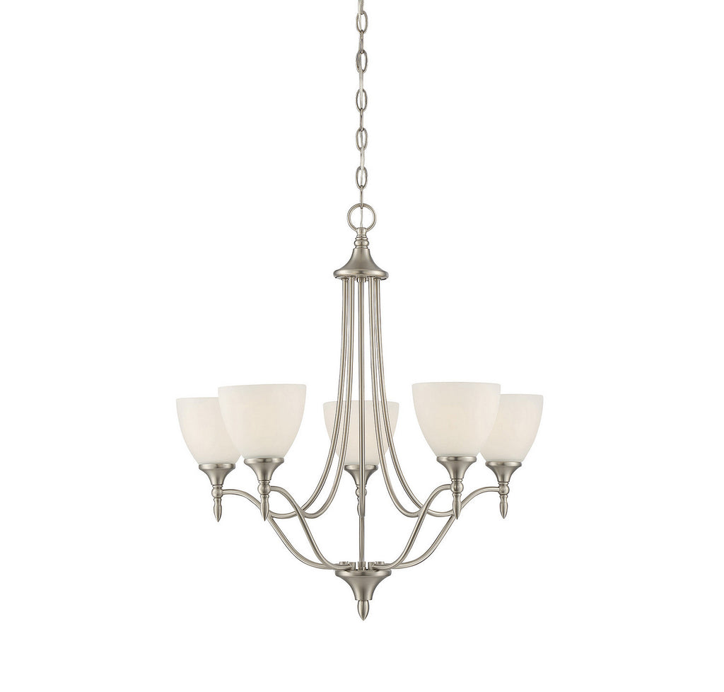 Savoy House - 1-1001-5-SN - Five Light Chandelier - Herndon - Satin Nickel