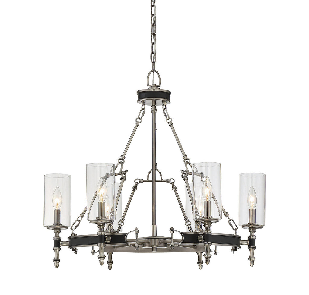 Savoy House - 1-5040-6-81 - Six Light Chandelier - Gramercy - Polished Pewter w/ Black Leatherette