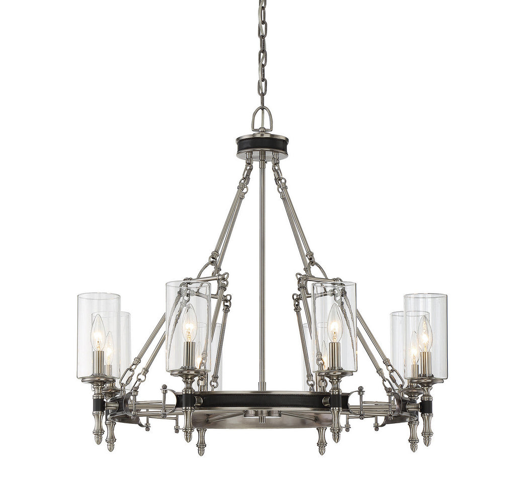 Savoy House - 1-5041-8-81 - Eight Light Chandelier - Gramercy - Polished Pewter w/ Black Leatherette