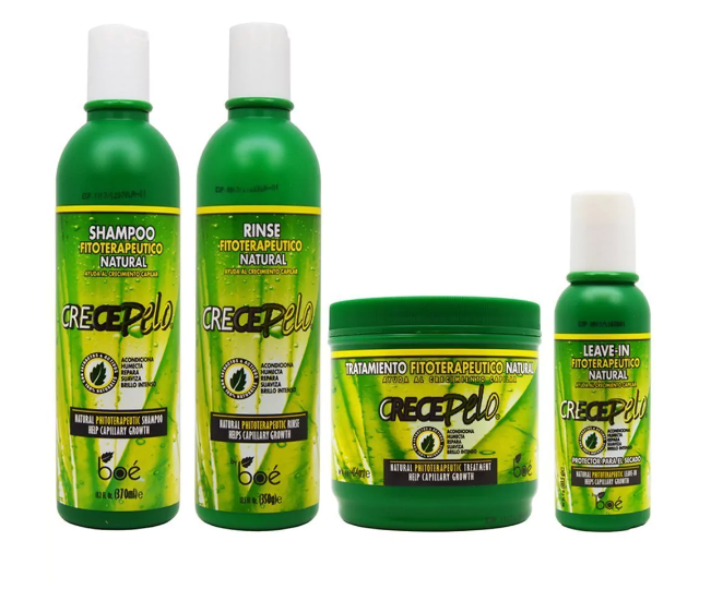 Crece Pelo Hair Product Kit (Shampoo, Conditioner, Treatment and Leave-in)