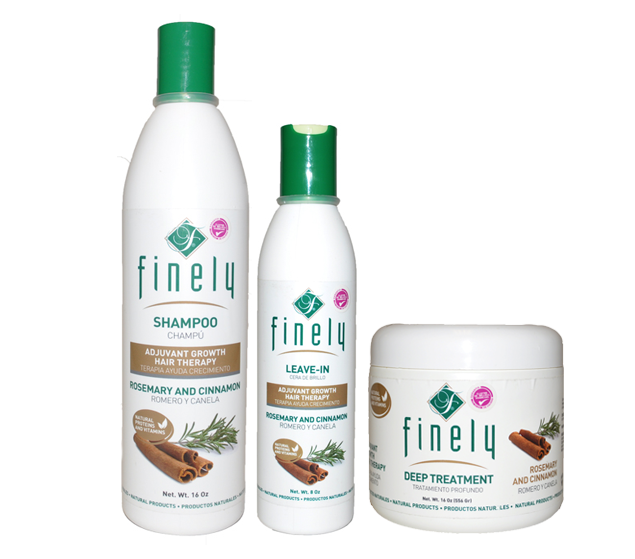 Finely Rosemary & Cinnamon Shampoo, Leave-in and Treatment (3 Piece Set)