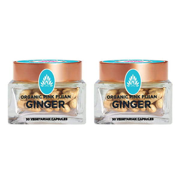Wakaya Perfection Organic Pink Fijian Ginger Capsules (500 MG | 30 CT) 2-Pack - The Wakaya Group