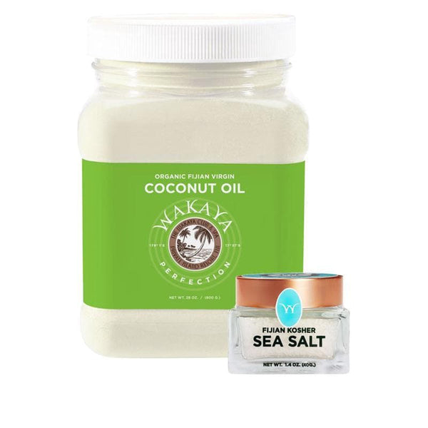 Wakaya Perfection Organic Fijian Virgin Coconut Oil (28 OZ) & Sea Salt Combo