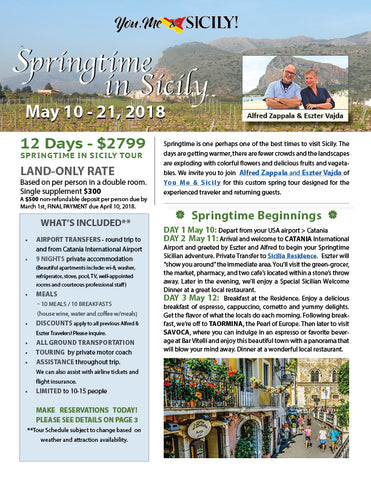 Springtime in Sicily May 10-21, 2018 Sicilian Holiday Trip