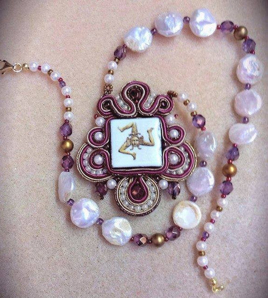 Mother of Pearl Ceramic Trinacria from Caltagirone Necklace - Made in Sicily