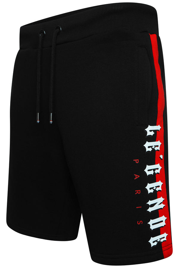 LEGENDE BLOCK FLC SHORT  - BLACK/RED